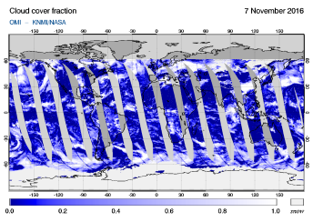 OMI - Cloud cover fraction of 07 November 2016