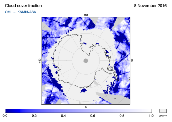 OMI - Cloud cover fraction of 08 November 2016