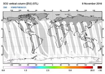 OMI - SO2 vertical column of 08 November 2016