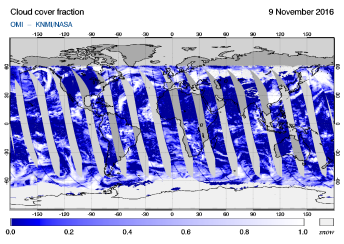 OMI - Cloud cover fraction of 09 November 2016