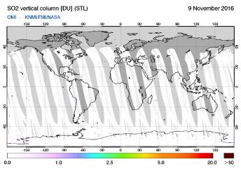 OMI - SO2 vertical column of 09 November 2016
