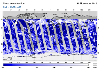 OMI - Cloud cover fraction of 10 November 2016