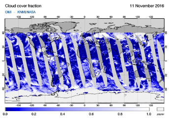 OMI - Cloud cover fraction of 11 November 2016
