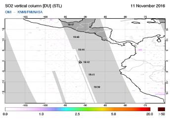 OMI - SO2 vertical column of 11 November 2016