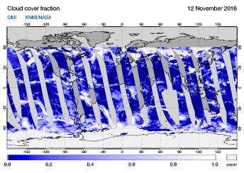 OMI - Cloud cover fraction of 12 November 2016