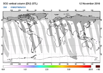 OMI - SO2 vertical column of 12 November 2016