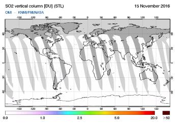 OMI - SO2 vertical column of 15 November 2016