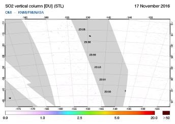 OMI - SO2 vertical column of 17 November 2016
