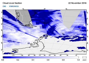 OMI - Cloud cover fraction of 22 November 2016
