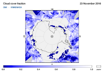 OMI - Cloud cover fraction of 23 November 2016