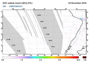 OMI - SO2 vertical column of 23 November 2016
