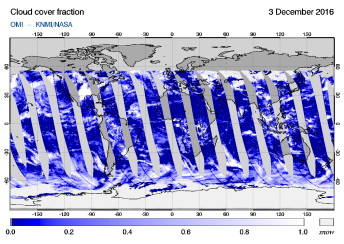 OMI - Cloud cover fraction of 03 December 2016