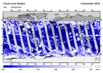 OMI - Cloud cover fraction of 04 December 2016