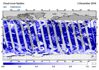 OMI - Cloud cover fraction of 05 December 2016