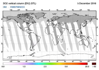 OMI - SO2 vertical column of 05 December 2016