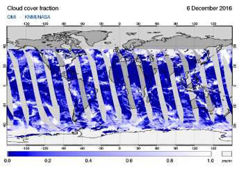 OMI - Cloud cover fraction of 06 December 2016