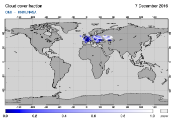 OMI - Cloud cover fraction of 07 December 2016