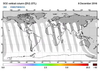 OMI - SO2 vertical column of 08 December 2016