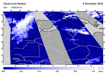 OMI - Cloud cover fraction of 09 December 2016