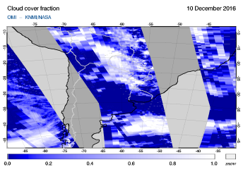 OMI - Cloud cover fraction of 10 December 2016