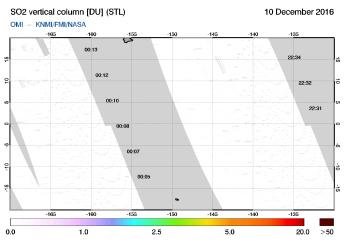 OMI - SO2 vertical column of 10 December 2016