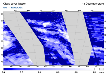 OMI - Cloud cover fraction of 11 December 2016