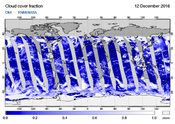 OMI - Cloud cover fraction of 12 December 2016