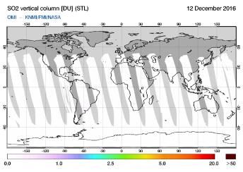OMI - SO2 vertical column of 12 December 2016