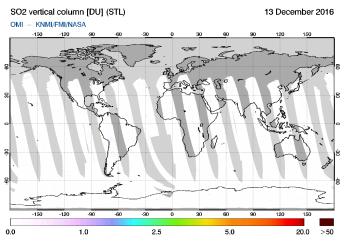 OMI - SO2 vertical column of 13 December 2016