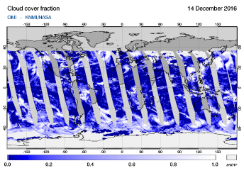 OMI - Cloud cover fraction of 14 December 2016