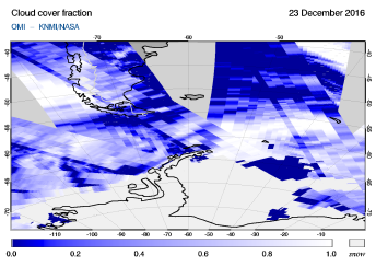 OMI - Cloud cover fraction of 23 December 2016