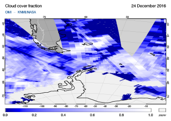 OMI - Cloud cover fraction of 24 December 2016