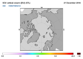 OMI - SO2 vertical column of 27 December 2016