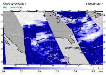 OMI - Cloud cover fraction of 04 January 2017