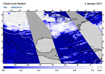OMI - Cloud cover fraction of 05 January 2017