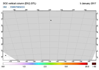 OMI - SO2 vertical column of 05 January 2017