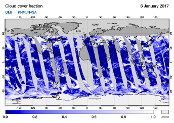 OMI - Cloud cover fraction of 06 January 2017