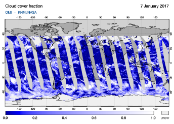 OMI - Cloud cover fraction of 07 January 2017