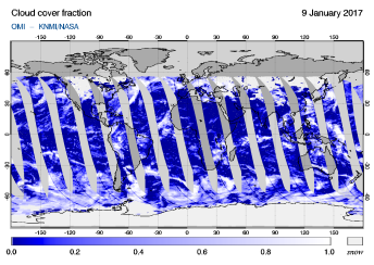 OMI - Cloud cover fraction of 09 January 2017