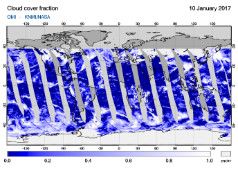 OMI - Cloud cover fraction of 10 January 2017