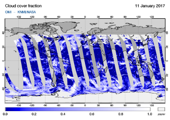 OMI - Cloud cover fraction of 11 January 2017
