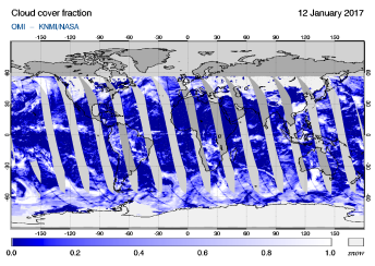 OMI - Cloud cover fraction of 12 January 2017