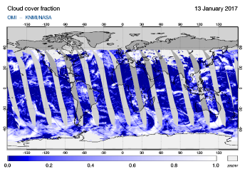 OMI - Cloud cover fraction of 13 January 2017