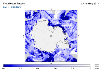 OMI - Cloud cover fraction of 23 January 2017