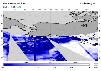 OMI - Cloud cover fraction of 27 January 2017