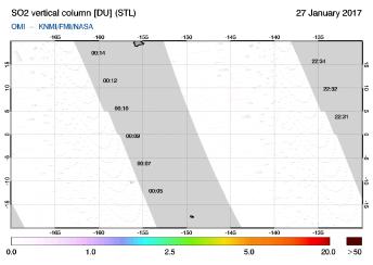 OMI - SO2 vertical column of 27 January 2017