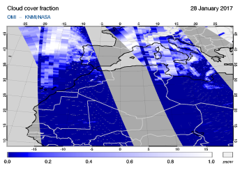 OMI - Cloud cover fraction of 28 January 2017