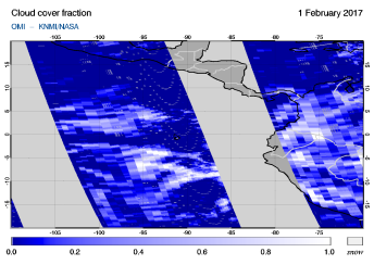 OMI - Cloud cover fraction of 01 February 2017