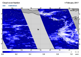 OMI - Cloud cover fraction of 04 February 2017