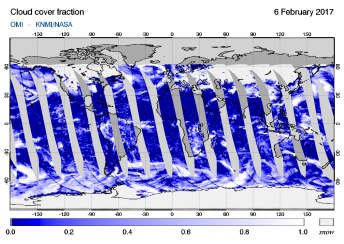 OMI - Cloud cover fraction of 06 February 2017